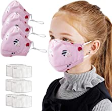 Children's Face Macks Washable Reusable Outdoor Face Bandanas Cute Pattern Dust Mouth Shield for Kids Boys Girls 儿童卡通可水洗防尘防雾霾 3个(儿童草莓)+6垫片