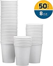 NYHI 50-Pack 8oz White Paper Disposable Cups – Hot / Cold Beverage Drinking Cup for Water, Juice, Coffee or Tea – Ideal for Water Coolers, Party, or Coffee On the Go'