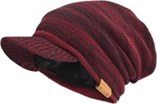 VECRY Men's Oversize Slouch Beanie Slouchy skullcap Large Baggy Hat (Visor-Claret)