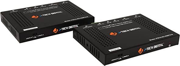 J-Tech Digital HDBaseT 4K@60HZ HDMI Extender 4K@60HZ 4:4:4, HDMI 2.0 Over Single Cable CAT5e/6A up to 230ft (1080P) 131ft(4K) Supports HDMI 2.0 18Gbps, HDR, HDCP 2.2, RS232, Bi-Directional IR