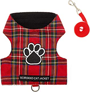 SCIROKKO Cat Harness and Leash Set - Escape Proof Adjustable for Outdoor Walking Jacket with Safety Buckle, Leopard Print, Plaid