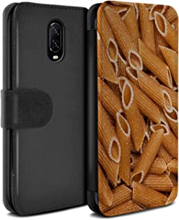 eSwish PU Leather Wallet Flip Case/Cover for OnePlus 6T / Penne Pasta Design/Food Collection