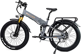 W Wallke X3 Pro26-inch Upgrade The Frame Fat Tire Electric Bicycle 48V14AH Battery Adult Auxiliary Bike 750W Mountain Snow...