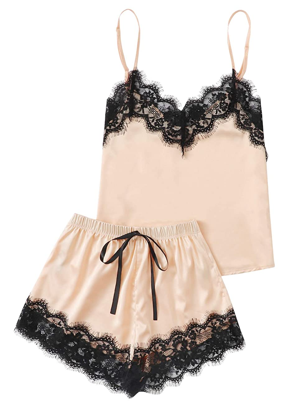 MAKEMECHIC Women's Lace Satin Sleepwear Cami Top and Shorts Pajama Set