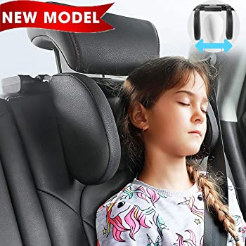 MotoParty Car Headrest Pillow,Car Seat Head Support,for Kids and Passenger,Neck Protection,Adjustable,Easy To Install Leather,Small