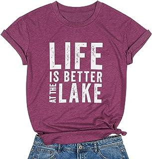 MAXIMGR Life is Better at The Lake Shirt Women Lake Life Funny Graphic T-Shirt Short Sleeve Tees Shirt Tops