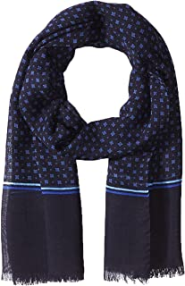 Hickey Freeman Men's Wool/silk Printed Neat Scarf