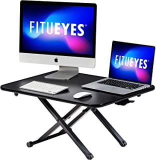 FITUEYES Standing Desk 78.5m Wide Sit to Stand up Desk Converter fit Working/Study in Home Office and School Black SD108001MB