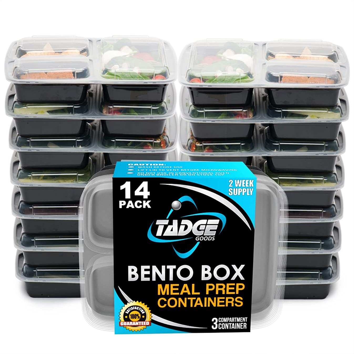 Meal Food Prep Containers Bento Box - 14 Pack Divided Take Out Lunch Box - Food Storage Portion Control - 21 Day Fix BPA Free, Reusable, Microwavable, Dishwasher & Freezer Safe
