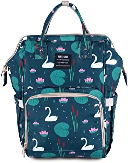 Diaper Backpack Baby Multi - Function Waterproof Large Capacity Nappy Bag Organizer for Mommy - Travel Outdoor (Green Swan)