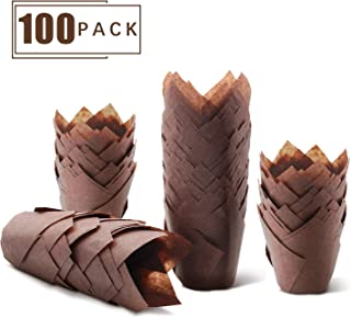 Cupcake liner,Cupcake wrappers,Paper cup,Cake mould, Parchment paper cupcake liners, Royal Brown Tulip Style Baking Cups, Sleeve of 100