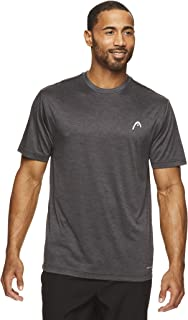 HEAD Men's Hypertek Crewneck Gym Tennis & Workout T-Shirt - Short Sleeve Activewear Top - Speed Ebony Heather, Medium