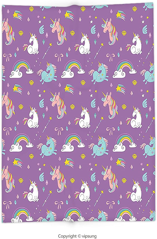 Vipsung Throw Blanket with Magic Unicorn and Rainbows Diamonds Wand Pattern Nursery Ba Girl Legendary Creature Print Decor Multi Super Soft and Cozy Fleece Blanket