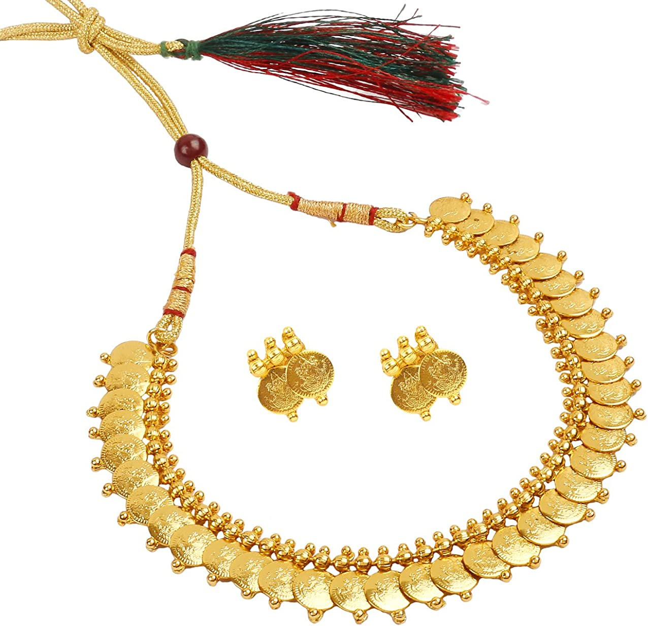 Bodha 18K Traditional Indian Gold Plated Coin Necklace Set for Women (SJ_2329)