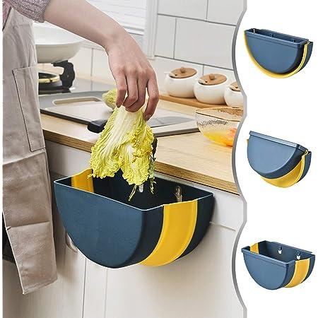 Azul Dormitorio y Coche JEEZAO Cubos de Basura Plegable Bote de Basura Colgante Basurero Plegable Basura Extraible para la Cocina