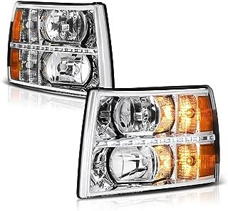 VIPMOTOZ Chrome Housing LED Strip DRL OE-Style Headlight Headlamp Assembly For 2007-2013 Chevy Silverado 1500 2500HD 3500HD Pickup Truck, Driver & Passenger Side