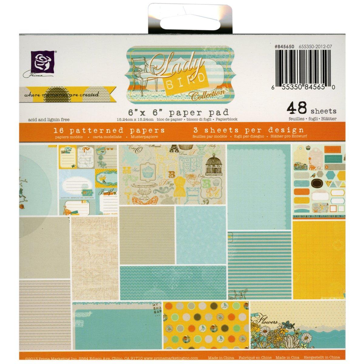 Prima Marketing Paper Pad 6 x 6-Inch, Lady Bird, 48/Pack