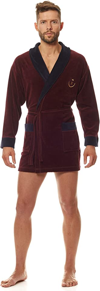 9101 Luxury Short Toweling for Men Soft Sleeve Bathrobe. Extremely Light. Housecoat Dressing Gown for Males.