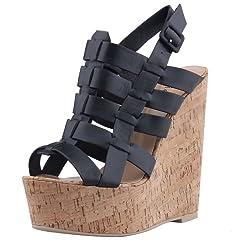 f26e533761a0c Calaier Womens Caparag Open Toe 16.5CM Wedge Heel Buckle Sand ...  70.99 · Calaier  Womens Castation Designer Fashion Sexy ...