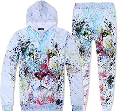 Tracksuit Set Man Lion Tie-dye Graffiti Hoodie Sports Suit Casual Pants Hooded Suit Sportswear Long Sleeve Athletic Jumpsuit