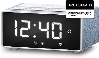 Energy Sistem Reloj Despertador Digital con Alexa Integrado Smart Speaker Wake Up con 3 Meses Gratis de Amazon Music(10W, Cargador Qi, Wi-Fi, Bluetooth)