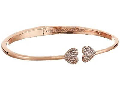 Kate Spade New York Heart to Heart Open Hinged Cuff (Clear/Rose Gold) Bracelet