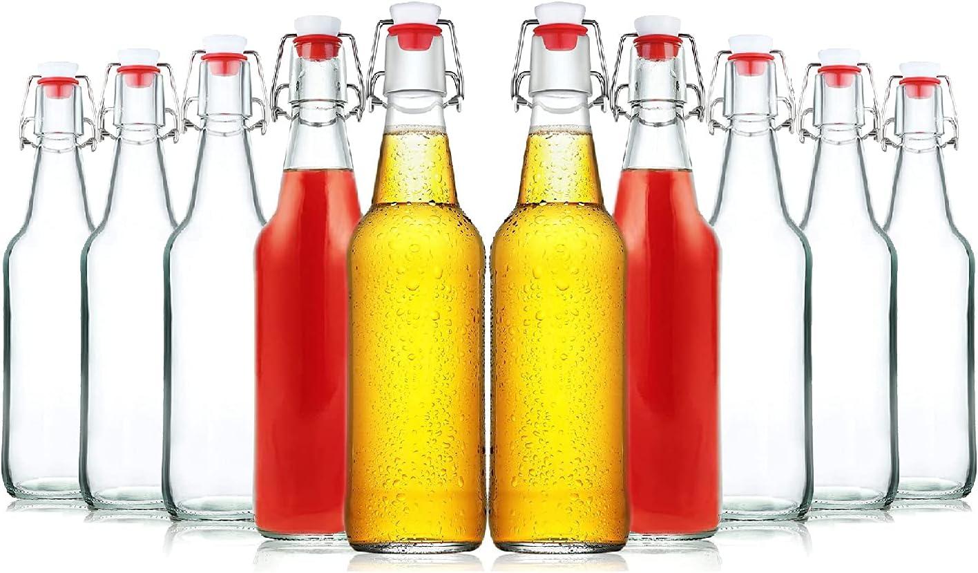 Botellas de cristal con cierre de clip, 10 unidades, 250 ml, rellenables, para zumo, cerveza, kéfir y batidos