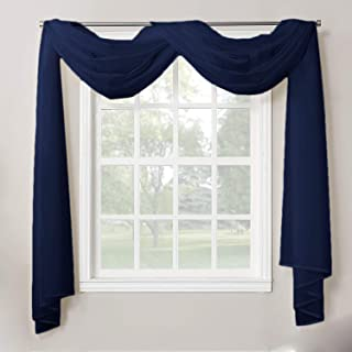 """Decotex 1 Piece Sheer Voile Home Decor Fully Hemmed Scarf Valance Swag Topper (37"""" X.."""