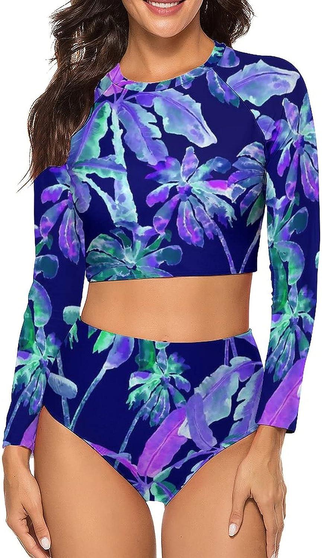 Tvsuh-u Women's Bathing Suit 2 PCS Tropical Trees Leaves Long Sleeve Rash Guard Swimsuits High Neck Athletic Shirt