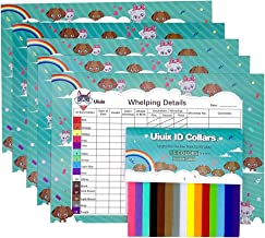 UIUIX Puppy Whelping Collars with 5 Record Keeping Charts, 15 Colors Puppy ID Collars, Double-Sided Soft Adjustable ID Bands with Charts for Breeders