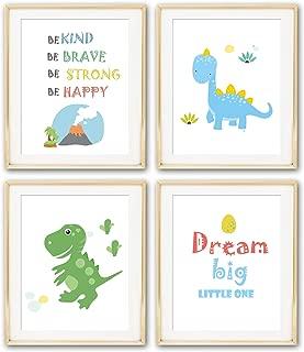 ihopes Dinosaur Nursery Wall Art Prints   Set of Four 8x10 Unframed   T-Rex Art   Be Brave   Kid Bedroom Art   Baby Nursery Decor