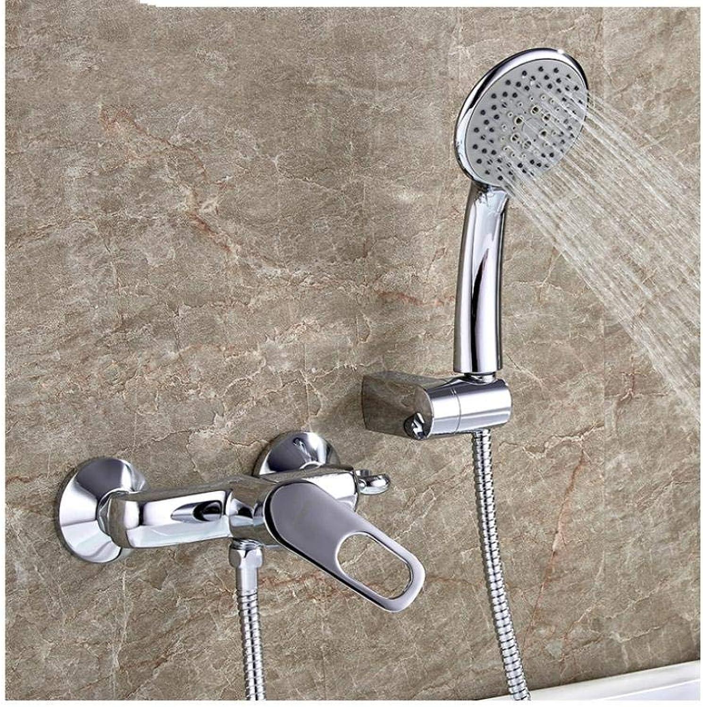 Wasserhahn Verchromt Bad Badewannenarmaturen Mischbatterie Set Wasserhahn mit Hand Messing Bad Badewannenarmatur Duschkopf Set