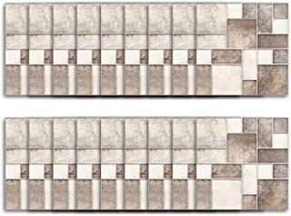 Pack of 18 Beige Brown Coffee Grey Multi Stone Marble Effect Mosaic Tile Transfers Stickers Kitchen Bathroom Stick on Tile Peel and Stick on Wall Tile