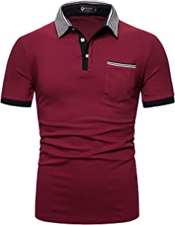 STTLZMC Mens Casual Short Sleeve Polos Contrasting Color Striped Collar T-Shirt