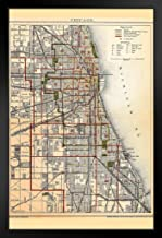 City of Chicago Illinois Historic Antique Style Map Black Wood Framed Art Poster 14x20
