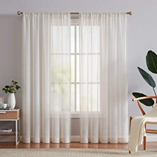 Fmfunctex Flax Linen Sheer Curtains 84-inch Long Living Room Vintage Window Panel Drapes for Farmhouse Bedroom Rod Pocket,...