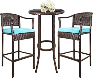 Outdoor Wicker Bar Stools, 3 Pcs Patio Bar Height Bistro Chair Outdoor Patio Furniture Sets Wicker Conversation Set for Backyard Balcony Poolside with Glass Coffee Table and High Bar Stool