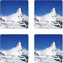 Lunarable Snowy Nature Coaster Set of 4, View of Snow Capped Matterhorn Mountain in Switzerland, Square Hardboard Gloss Coasters, Standard Size, Cobalt Blue Blue Grey