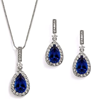 Mariell Sapphire Blue Cubic Zirconia Necklace & Earrings Bridal Jewelry Set, Something Blue Wedding Gift