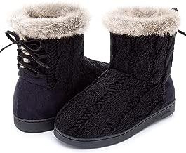 Women's Comfort Woolen Yarn Woven Bootie Slippers Memory Foam Plush Lining Slip-on House Shoes