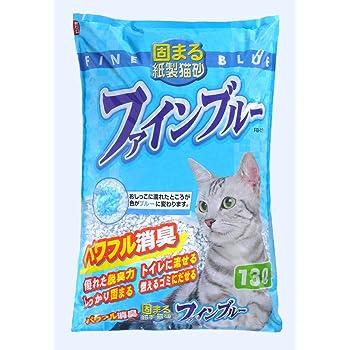 常陸化工 固まる紙製猫砂 ファインブルー 13L
