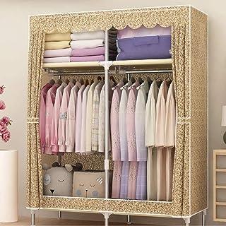 HWG Armoire Penderie Armoire Tissu Armoire Penderie Portable avec 2 Tringles à Vêtements, 4 étagères pour Chambre, Salon,C