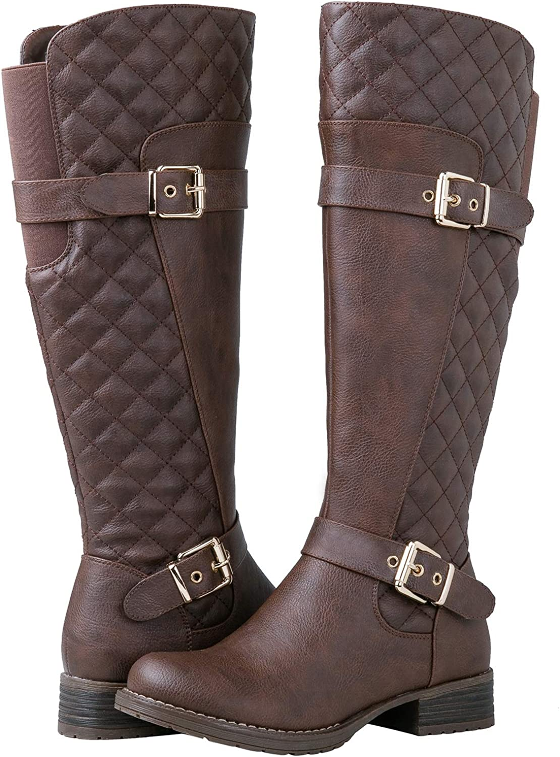 GLOBALWIN Women's Quilted Knee High Fashion Boots
