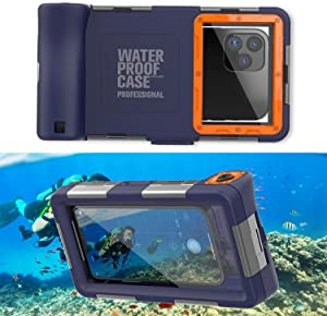Professional [15m/50ft] Diving Phone Case for All Samsung Galaxy/Apple iPhone Series, Waterproof Cell Phone Cover with Lanyard for Outdoor Surfing Swimming Snorkeling Photo Video (Orange)