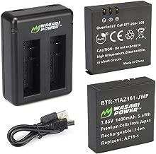 Wasabi Power AZ16-1 Replacement Battery (2-Pack) and Dual USB Charger for Xiaomi YI 4K Camera and YI AZ16-1