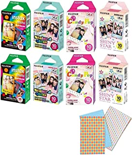 Fujifilm Instax Mini 8 Pack BUNDLE Rainbow, Stained Glass, Candy Pop, Shiny Star Single pack 10 sheets X 8 Pack = 80 Sheets + withC Microfiber Cleaning Cloth for Camera Lenses