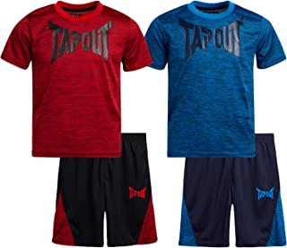 Sponsored Ad - TapouT Boys' Active Shorts Set - Short Sleeve T-Shirt and Gym Shorts Performance Kids Clothing Set (4 Piece)
