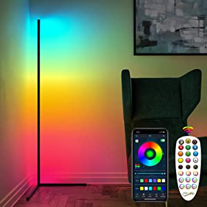 RGB Corner Lamp, Color Changing Floor Lamp for Bedroom, Dimmable LED Corner Lamp, 61