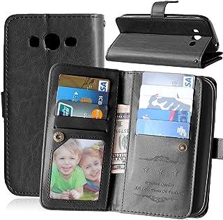 FUBAODA Funda de Piel para Samsung Galaxy Grand Neo Plus I9060, [Cable Libre] Ranuras para Tarjeta de crédito para Samsung Galaxy Grand Neo Plus I9060 (Grand Lite) (Negro)