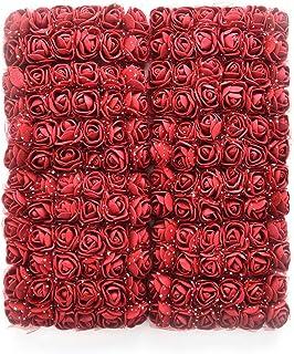 D'Lush Designs Mini Artificial Foam Art Craft Rose Flowers -(Maroon)